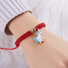 Lucky Red String Thread Horse Bracelets Pink Blue White Horse Charm Women Handmade Girls Friendship Jewelry Gift with Card BLUE HORSE