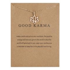 Good karma paper card lotus hollow alloy necklace NC18Y0508