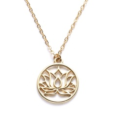 Women Gold Palm Pendant Necklace Clavicle Chain Choker Paper Card Jewelry Gifts Good karma(Round)