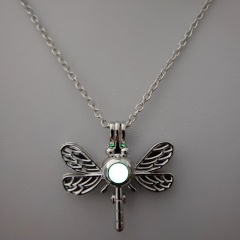 Charm Glow In The Dark Dragonfly Animal Pendant Necklace Luminous Women Jewelry Dragonfly-Yellow