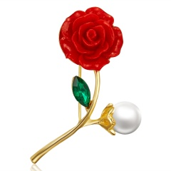 Rinhoo Elegant Flower Brooch Rose Pearl Rhinestone Plant Brooch Pin Crystal Jewelry Clothes Accessory Women Birthday Party Gifts Rose