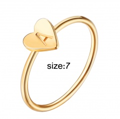 Fashion 26 Letters Size 8 Heart A-Z Rings Women Men Friendship Finger Name Ring Jewelry A