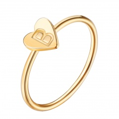 Fashion 26 Letters Size 8 Heart A-Z Rings Women Men Friendship Finger Name Ring Jewelry B