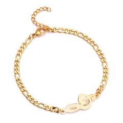 Stainless Steel Bracelet For Women Man Infinite 8 Guitar Music Note Gold Color Pulseira Feminina Lover's Engagement Jewelry music note