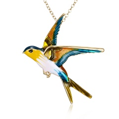 Rinhoo 3 Color Swallow Bird animal Brooch Pins Unique Dual Use Long Chain Pendent Brooches Women Jewelry Daily Party Gifts Yellow
