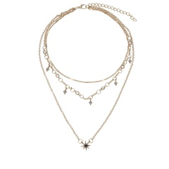 Fashion Women Boho Multi-Layer Choker Collar Pendant Chain Bib Necklace Jewelry Gold