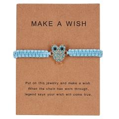New Arrival Animal Charm Bracelets Blue Thread String Bracelet Owl Sea-star Fish Turtle Blue Bead Handmade Rope Bracelet Jewelry owl