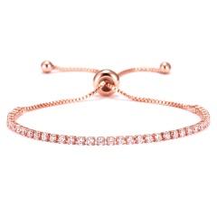 Rinhoo Fashion Round 2mm Cubic Zirconia Tennis Bracelet & Bangles For Women Gifts Luxury Bling Crystal Bracelet Bijoux 9 Colors Rose Gold