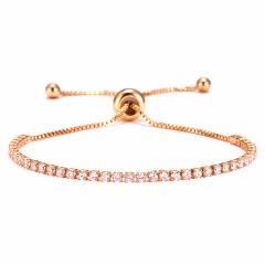Rinhoo Fashion Round 2mm Cubic Zirconia Tennis Bracelet & Bangles For Women Gifts Luxury Bling Crystal Bracelet Bijoux 9 Colors Gold