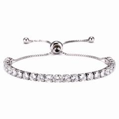 4mm Zirconia CZ Stone Bracelet Women Tennis Bracelets Female 1 Row Rhinestones Chain Bling Crystal Adjustable Bracelet Jewelry SILVER