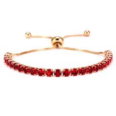 4mm Zirconia CZ Stone Bracelet Women Tennis Bracelets Female 1 Row Rhinestones Chain Bling Crystal Adjustable Bracelet Jewelry RED