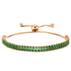 Fashion Women Tennis Bracelets Square Zirconia Link Chain Gold Silver Color 2mm Crystal Bangles Female Trendy Girls Jewelry GREEN