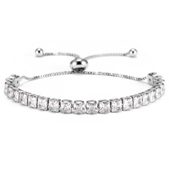 Trendy 7 Colors Cubic Zirconia Tennis Bracelet & Bangles For Women Gifts New Luxury Square Crystal Link Chain Bracelet Bijoux SILVER