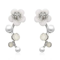 Elegant Flower Imitation pearl Stud Earrings for Women Girl Jewelry Gift Silver