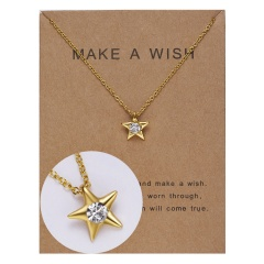 Paper card diamond long strip star pendant clavicle chain necklace NC18Y0493-G6