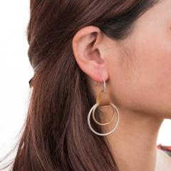 Fashion Geometric Teardrop Round Pendant Hook Earrings for Women Jewelry Two Circle