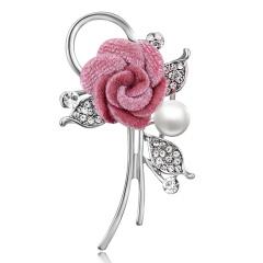 Elegant Handmade Pearl Rhinestone Fabric Flower Brooch Pins Cute Romantic CZ Female Brooch Women Wedding Party Jewelry Wholesale Flower 2