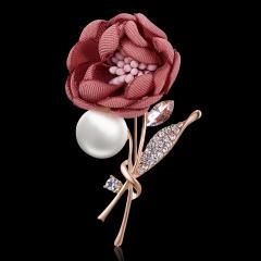 Elegant Handmade Pearl Rhinestone Fabric Flower Brooch Pins Cute Romantic CZ Female Brooch Women Wedding Party Jewelry Wholesale Flower 9