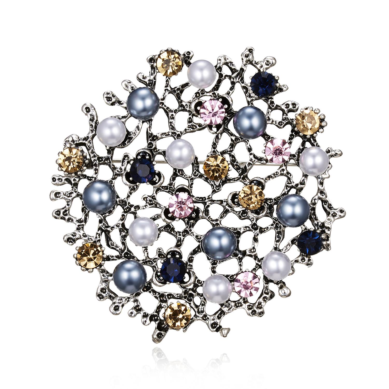 Vintage Crystal Enamel Owl Brooch Alloy Tree Pearl Rhinestone Bird Pins Jewelry