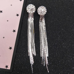 New Fashion Jewelry Personality Temperament Crystal Tassel Bride Earrings Long Earrings For Women Earrings Silver