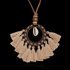 Women Boho Tassel Leather Rope Pendant Necklace Sweater Long Chain Jewelry Gift Khaki