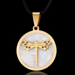 Women Gold Stainless Steel Butterfly Elephant Animal Pendant Necklace Jewelry Dragonfly