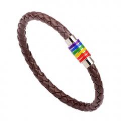 Rinhoo Black Brown Genuine Braided Leather Bracelet Stainless Steel Gay Pride Rainbow Magnetic Charms Bracelet Gift for Women Men BROWN