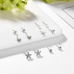 6Pairs/Set Simple Style Sea Star Moon Pearl Stud Earrings Women Girl Week Jewelry Silver