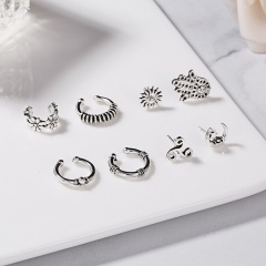 Vintage Boho Sun Crown Owl Round Stud Earrings Set Punk Jewelry Gift Sun Moon