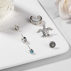 New Fashion Boho Earrings Set Round Turtle Flower Ancient Silver Stud Earrings for Women Jewelry Turtle