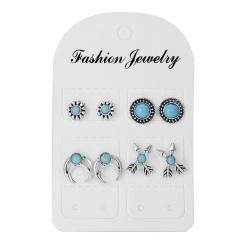 Fashion Vintage Geometric Round Hollow Flower Stud Earrings Set Jewelry Arrows