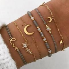 Rinhoo Boho Bangle Heart Shell Star Moon Inifinity 8 Crystal Bead Bracelet Women Charm Party Wedding Jewelry Accessories 6pcs star moon