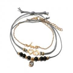 New Arrival Bracelet Sets Minimalist Gold Silver Color Hollow Lotus Bangle Bracelets Gift for Women Exquisite Party Jewelry 3pcs love