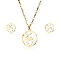 New Fashion Stainless Steel Gold Lovely Animal Cat Earrings Necklace Jewelry Set Deer