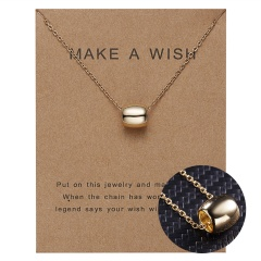 Women Charm Gold Geometric Circle Hollow Pendant Paper Card Necklace Jewelry Hot Curved circle