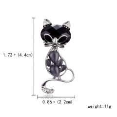 Rinhoo Pearl Rhinestone Lovely Cat Brooch Party Jewelry Crystal Enamel Pin Black Animal Brooch Pins Dress Decoration Accessories black