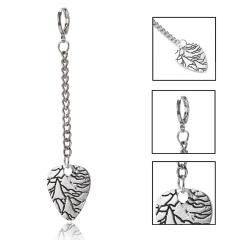 1 Pc Vintage Heart Leaf Feather Drop Dangle Earrings for Men Heart