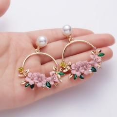 Fashion Pearl Crystal Dangle Earrings Sweet  Cute Earrings for Women Gifts Pink
