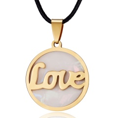 Fashion Gold Stainless Steel Shell Leather Pendant Necklace Women Jewelry Gift LOVE