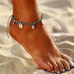 Bohemian Green Stone Beads Anklets for Women Seashell Charm Ankle Bracelet Adjustable Foot Leg Bracelet Foot Jewelry Gift Anklet 1