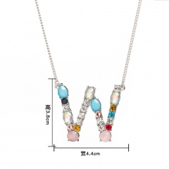 Women Colorful Crystal Initial Alphabet Letter A-Z Pendant Necklace Jewelry Gift W