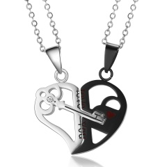 Mother's Day Gift 2Pcs/set Stainless Steel Love Heart Key Pendant Necklace Women Love You Black