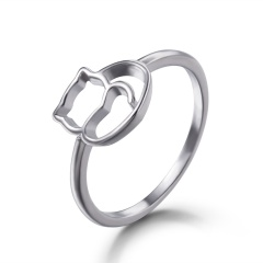 Cat Ring Adjustable Pearl Crystal Animal Paw Open Band Women Finger KnuckleAnimal Leaf Paw Open Band Women Finger Knuckle #7-cat