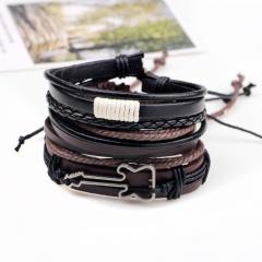 Retro 3pcs/set Leather Bracelets for Men Multilayer Handmade Wristband Bracelet Punk Rope Male Jewelry bracelet 1