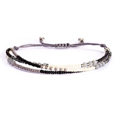 Bracelet For Women Jewelry Pulseras Mujer Bracelets Summer Beach Handmade Dlicas Beads Colorful Multilayer Bracelet Jewelry Gift grey-black-white