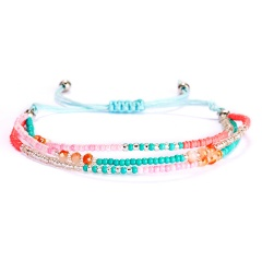 Bracelet For Women Jewelry Pulseras Mujer Bracelets Summer Beach Handmade Dlicas Beads Colorful Multilayer Bracelet Jewelry Gift blue-pink-red
