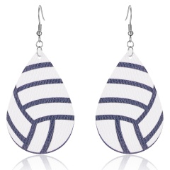 Creative Pu Leather Softball Football Basketball Print Pattern Drop Earrings For Women Big Teardrop Sports Ball Earrings Jewelry volleyball