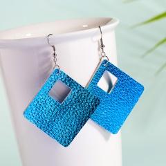 Trendy Geometric Rhombus PU Leather Dangle Earrings Women Jewelry Blue