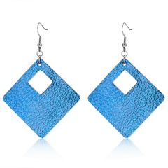 geometric square hollow leather earrings Leather Earrings 9