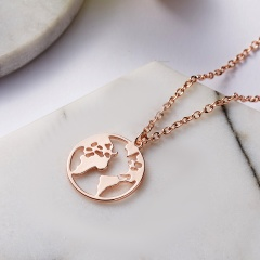 Women Stainless Steel Round Hollow Map Cactus Hollow Pendant Necklace Jewelry Gold Map